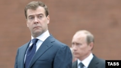 "A Kremlin source was recently quoted as saying President Dmitry Medvedev (left) and Prime Minister Vladimir Putin have decided to use a note taker at their meetings because of ""misunderstandings"" that have arisen."