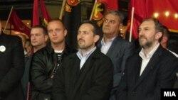 Архивска фотографија од Љубчо Георгиевски на предизборен митинг на ВМРО-Народна партија