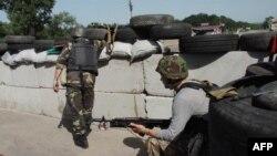 Блокпост украинских военных под Славянском