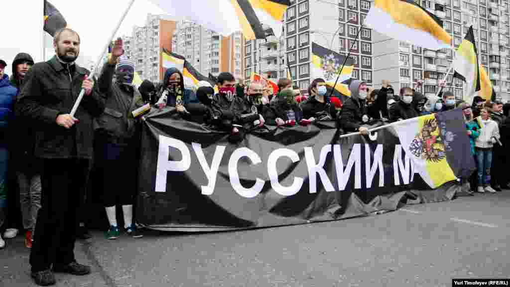 """Ultranationalists demonstrate in the """"Russian March"""" in Moscow on November 4."""