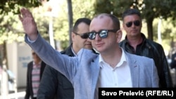 Lawmaker Andrija Mandic in front of the prosecutor's office in Podgorica on March 3