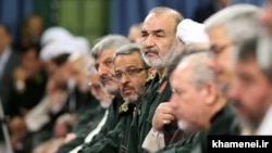 Top revolutionary guards commanders including Hossein Salami (C) meeting with Supreme Leader Ali Khamenei in Tehran on September 16, 2015.