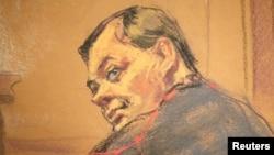 Євген Буряков на суді у США, погляд художника
