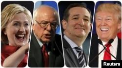 На снимке (слева направо) претенденты в кандидаты на пост президента США: Хиллари Клинтон, Берни Сандерс, Тед Круз, Дональд Трамп.