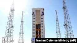 IRAN -- An Iranian rocket is prepared to launch carrying a satellite at the Imam Khomeini Spaceport in Iran's Semnan province, February 9, 2020