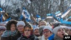 24 лютага ля будынку парлямэнту Эстоніі.