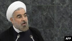 Президент Ирана Хасан Роухани во время сессии Генеральной Ассамблеи ООН в Нью-Йорке, 24 сентября 2013 года.