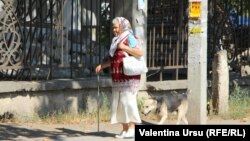 O pensionară echipată cu mască și însoțită de un câine la plimbare prin Bălți