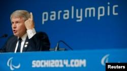 Прэзыдэнт Паралімпійскага камітэту Ўкраіны Валерый Сушкевіч на прэсавай канфэрэнцыі 7 сакавіка