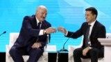 UKRAINE -- Belarusian President Alyaksandr Lukashenka and Ukrainian President Volodymyr Zelenskiy toast during Ukraine-Belarus forum in Zhytomyr, October 4, 2019