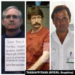 Пол Уилан и российские граждане Виктор Бут, Константин Ярошенко, отбывающие тюремный срок в США (слева направо).