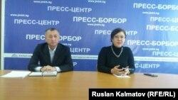 Салкын Сарногоева на пресс-конферении в Джалал-Абаде.