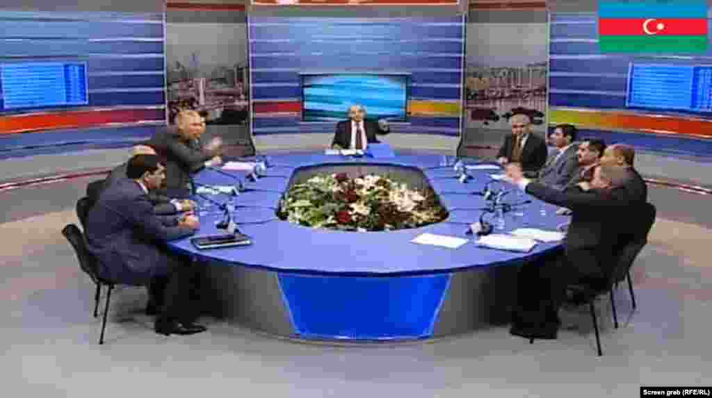 Azerbaijan's televised presidential debates have been chaotic, with marginal pro-regime candidates using their air time to hurl epithets -- and the occasional water bottle -- at Hasanli. Aliyev has not appeared at any of the debates, using members of his ruling Yeni Azerbaycan Party to speak on his behalf.