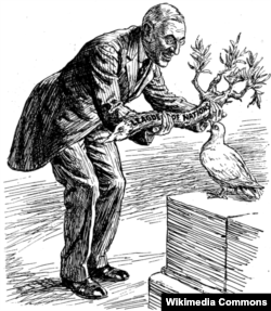 """Вильсон – голубю мира: """"Вот тебе оливковая ветвь. Принимайся за дело"""". Голубь: """"Конечно, я хочу угодить всем. Но не слишком ли она тяжела для меня?"""" Надпись на ветви: """"Лига Наций"""". Карикатура из британского журнала Punch, март 1919 года. Сенат отказался ратифицировать Версальский договор. США так и не вступили в Лигу Наций"""