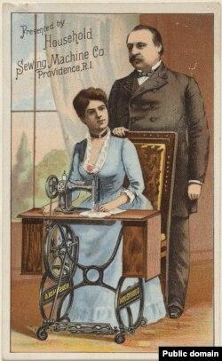 Реклама швейной машины фирмы Household Sewing Machines Co. с изображением президента и первой леди. 1886-1890. Национальная портретная галерея США
