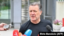 Zdravko Mamic, former head of the Dinamo Zagreb soccer club, addressing reporters as he leaves a Sarajevo court building following his June 15 extradition hearing.