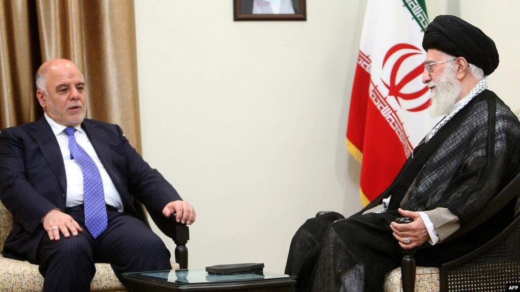 Iranian Supreme Leader Ayatollah Ali Khamenei (right) meets with Iraqi Prime Minister Haidar al-Abadi in Tehran on June 2015.