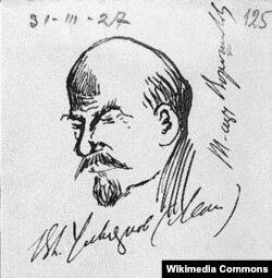 Portret al lui Lenin schițat de Nikolai Ivanovici Buharin