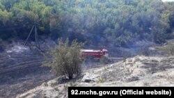 Пожар в селе Поворотное, Севастополь