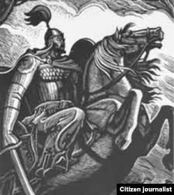 """""""Манас"""" дастанынын башкы кейипкери хан Манас. Теодор Герцен тарткан гравюра."""
