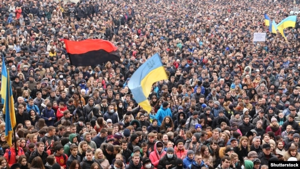 Мітинг проти агресії Росії і за європейську інтеграцію. Івано-Франківськ, 25 лютого 2014 року
