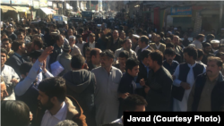 A view of the February 18 protest in Khwazakhela Swat.