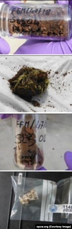 Образцы почвы и грунта с места атаки в Саракебе, исследованные экспертами ОЗХО