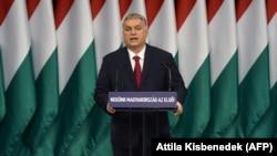 Premierul Viktor Orban, rostindu-și discursul anual către națiune, Budapesta, 16 februarie 2020.