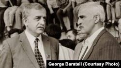 Лидеры грузинского национального движения: Звиад Гамсахурдия и Мераб Костава. Тбилиси, 1988 год.