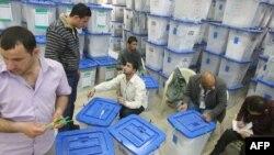 مركز تجميع صناديق الإقتراع في مقر مفوضية الإنتخابات ببغداد