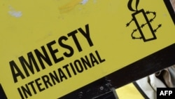 France -- A member of non-profit organization Amnesty International holds a sign as she takes part in a protest calling for the release of a group of Greenpeace activists imprisoned in Russia, on October 31, 2013, in Paris.