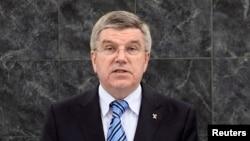 Халықаралық олимпиада комитетінің президенті Томас Бах. Нью-Йорк, 6 қараша 2013 жыл.