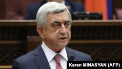 Armenia -- Former President Serzh Sarkisian attends a session of parliament in Yerevan on April 17, 2018.
