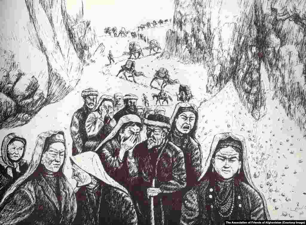 A drawing by Malik Kutlu shows Kyrgyz refugees fleeing Afghanistan after the communist takeover in Kabul in 1978. Many lived as refugees in Pakistan for years, before the Turkish government offered to help them settle in the Lake Van region.