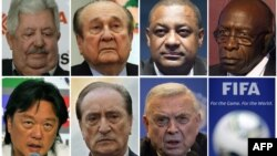 Семеро високопосадовців ФІФА котрих заарештували у швейцарському Цюріху 27 травня 2015 року. (Зліва направо) Рафаель Есківель, Ніколас Леос, Джеффрі Уебб, Джек Уорнер, Едуардо Лі, Еухеніо Фігередо і Хосе Марія Марін