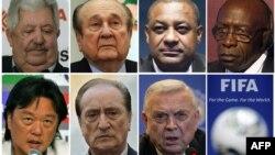 Фотографии чиновников ФИФА, обвиняемых в коррупции.