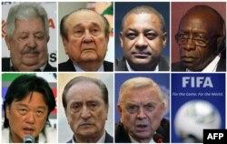 Семеро високопосадовців ФІФА, яких заарештували у швейцарському Цюріху у травні 2015 року. (Зліва направо) Рафаель Есківель, Ніколас Леос, Джеффрі Уебб, Джек Ворнер, Едуардо Лі, Еухеніо Фігередо і Хосе Марія Марін