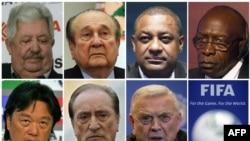 Семеро высокопоставленных чиновников ФИФА, которых арестовали в Цюрихе 27 мая 2015 года. Слева направо: Рафаэль Эскивель, Николас Леос, Джеффри Уэбб, Джек Ворнер, Эдуардо Ли, Эухенио Фигередо и Хосе Мария Марин