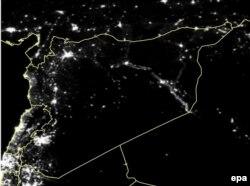 Сирия ночью. Спутниковая съемка, март 2011 года