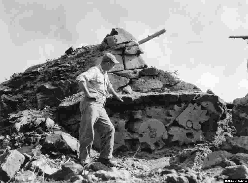 This dummy tank was carved from volcanic stone on the island of Iwo Jima in 1945, as World War II drew to a close.