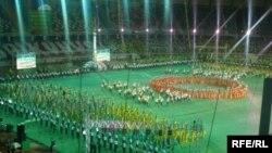 Turkmenistan -- Ashgabat. Celebration performances in the Olympic Stadium, 28Oct2009