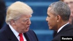 ԱՄՆ - Դոնալդ Թրամփը և Բարաք Օբաման Միացյալ Նահանգների 45-րդ նախագահի երդմնակալության արարողության ժամանակ, Վաշինգտոն, 20-ը հունվարի, 2017թ․