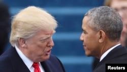 Президент США Дональд Трамп и экс-президент США Барак Обама. Вашингтон, 20 января 2017 года.