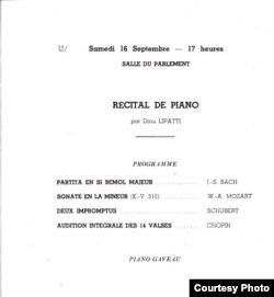 Programul ultimului recital