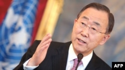 UN Secretary-General Ban Ki-moon gives a press conference in Vienna on February 16.