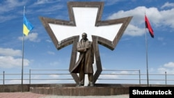 Monument to the leader of the Ukrainian nationalist and independence movement Stepan Bandera, in Ivano-Frankivsk