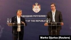 Kryeministri hungarez, Viktor Orban dhe presidenti serb, Aleksandar Vuçiq. Foto nga arkivi.