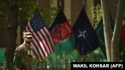 AFGANISTAN -- An U.S. military personnel stands during a change of command ceremony at Resolute Support in Kabul on September 2, 2018.