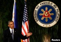 Барак Обама на пресс-конференции в столице Филиппин Маниле