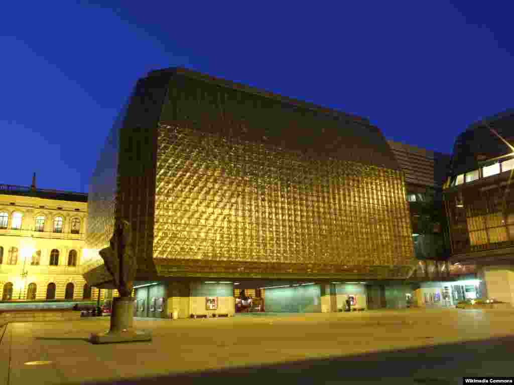 Prague's New Stage theater, an extension of the stately National Theater of 1881, was designed by Karel Prager, a top architect from the communist era. Completed in 1983, its exterior of opaque glass blocks has famously been described as resembling frozen urine.
